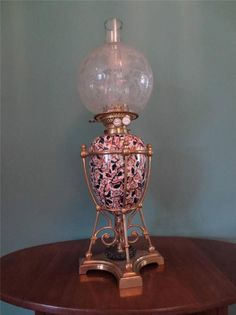 ANTIQUE VICTORIAN(CIRCA 1880) ROYAL DOULTON OIL LAMP-ETCHED GLASS GLOBE SHADE