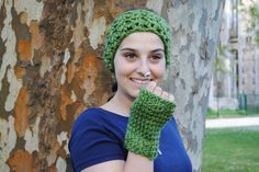 Fingerless mittens gloves and ears warmer in beautiful soft and warm forest green yarn by AirasLovelyKnits on Etsy