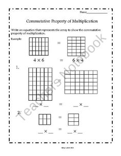 Commutative Property of Multiplication Worksheets (Common Core Aligned) product from Third Grade Teacher on TeachersNotebook.com
