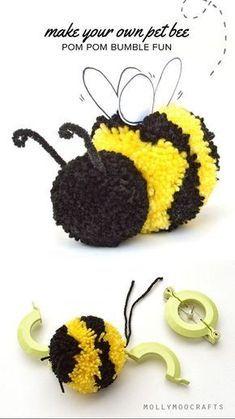 Cute Pom Pom Craft - How to make a pom pom bee How to make a Pom Pom Bumble Bee Pom Pom Crafts, Yarn Crafts, Sewing Crafts, Sewing Tips, Bug Crafts, Crafts To Make, Crafts For Kids, Arts And Crafts, Crafts With Wool