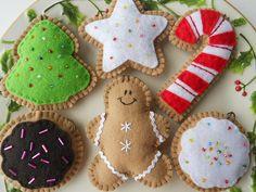 Gingerbread Cookie Christmas Ornament Set - Felt Christmas Ornament Set - Cookie Ornaments