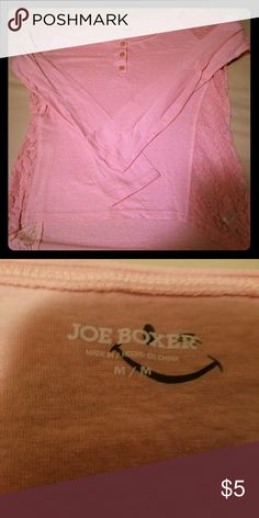 Peach lace henley Joe bixer peach colored Henley t-shirt with lace on the sides and shoulders. Super soft size medium. EUC Joe boxer Tops Tees - Long Sleeve