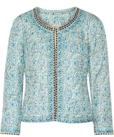 Shop for Talitha - Embellished Printed Silk Jacket - Light blue at ShopStyle. Now for Sold Out. Cream Jacket, Silk Jacket, Jacket Style, Jacket Dress, Beaded Jacket, Embroidered Jacket, Collarless Jacket, Wedding Dress Organza, Kurti Designs Party Wear