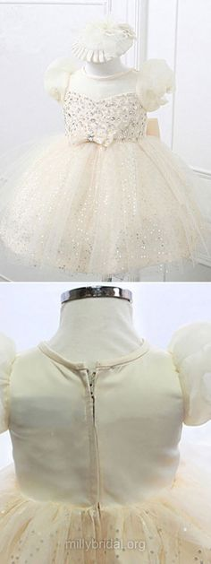 Ball Gown Flower Girl Dresses Ivory, Cute Pageant Dresses Scoop Neck, Beading Satin First Communion Dresses Tulle