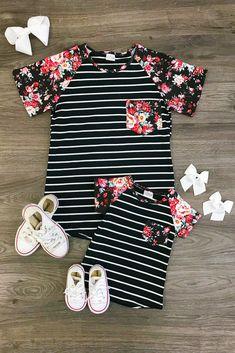 Mom & Me - Black Stripe Floral Pocket Shirt