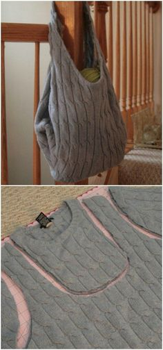 Reusable Shopping Bag - 50 Amazingly Creative Upcycling Projects For Old Sweater. - - Reusable Shopping Bag - 50 Amazingly Creative Upcycling Projects For Old Sweaters. Thrift Store Diy Clothes, Thrift Store Fashion, Thrift Stores, Reuse Clothes, Diy Bags From Old Clothes, Refashioning Clothes, Clothes Refashion, Sweater Refashion, Old Sweater Crafts
