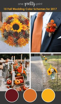Fall Wedding Colors_Raspberry Orange and Sunflower Yellow wedding colors september / fall color wedding ideas / color schemes wedding summer / wedding in september / wedding fall colors Fall Sunflower Weddings, Fall Wedding Bouquets, Fall Wedding Decorations, Fall Wedding Colors, Wedding Ideas, October Wedding Colors, Fall Wedding Themes, Wedding Planning, Trendy Wedding