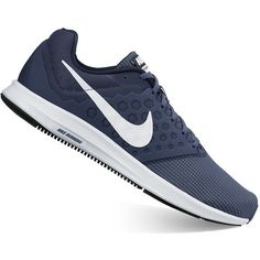 Nike Downshifter 7 Men's Running Shoes ($50) ❤ liked on Polyvore featuring men's fashion, men's shoes, men's athletic shoes, blue, mens breathable shoes, mens wide fit shoes, mens blue running shoes, mens shoes and nike mens shoes