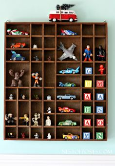 Printers tray for toy storage. Cute idea for the kids rooms