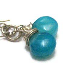 Sterling Silver Earrings Blue Peruvian Opal by silverriverjewelry, $34.00