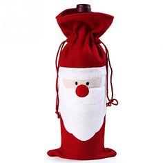 357725fcc 1Pcs de Navidad Vino rojo de Papá Noel Cubierta Botella Bolsas de mesa de  Navidad Cena