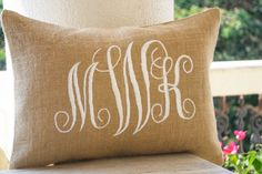 Burlap Monogram Pillows Custom Lumbar Personalized Cushion Wedding Pillow
