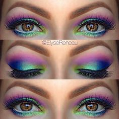 Pretty look for prom /new years.........  love the way the purple looks  and lime green also blue