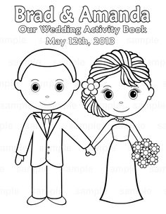 free printable coloring pictures wedding | Printable Personalized Wedding coloring activity book Favor Kids 8.5 x ...