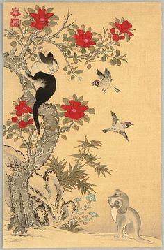 Jakuchu Ito - Birds, Cat and Dog (print, Leftover from my Strange Parameters post. Japanese Cat, Vintage Japanese, Art And Illustration, Asian Cat, Animal Gato, Art Chinois, Art Asiatique, Korean Art, Japanese Painting