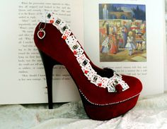The 'Queen of Hearts' Stiletto Heels (inspired by Alice in Wonderland). With Playing Cards, Pearls, Roses and Hearts. Size: EU 37/UK 4/US 6