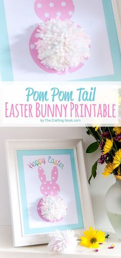This Pom Pom Tail Easter Bunny Printable is a cute way to craft with kids and decorate for Easter! 5 FREE Printables to choose from!
