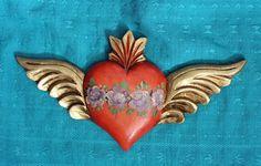 Large Wooden Sacred Heart Wings & Flowers Folk Art Michoacán Mexico, LOVE TOKEN!