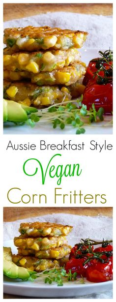 Super yummy, perfect for breakfast or anyt… Vegan Aussie Breakfast Corn Fritters. Super yummy, perfect for breakfast or anytime, these sweet corn fritters will be loved by everyone in the family! Vegan Foods, Vegan Dishes, Vegan Snacks, Vegan Vegetarian, Vegetarian Recipes, Healthy Recipes, Raw Vegan, Vegetarian Brunch, Vegetarian Sandwiches
