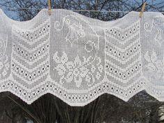 Vintage Crochet Curtain Panel Long Crochet Panel by OLaLaVintage