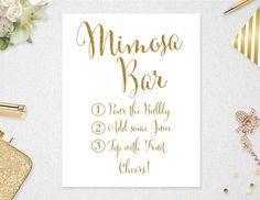 Printable Mimosa Bar Sign INSTANT DOWNLOAD // 8x10 // Wedding // Bridal Shower // Gold