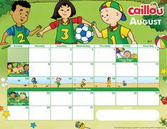 Printable Caillou Calendar – August 2016