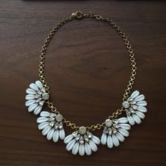 JCrew white and crystal statement necklace JCrew white and crystal statement necklace with white and crystal flower drops J. Crew Jewelry Necklaces