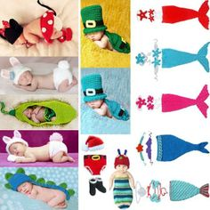 Newborn 12M Baby Girl Boy Animal Mermaid Crochet Knit Costume Outfits Photo Prop | eBay