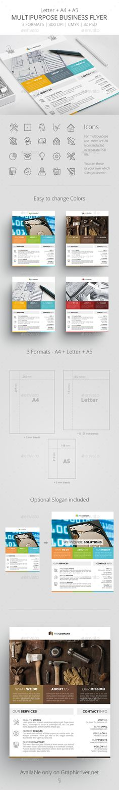 Multipurpose Business Flyer Template 3 by survivor Multipurpose Business Flyer Template 3FeaturesCMYK, 300DPI Letter (8.5×11 inches)  A4(210×297 mm)  A5(148×210 mm)with appropriate