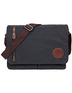 Mens Canvas Messenger Shoulder Bag Mens Messenger Bags Retro Canvas Crossbody Bag Laptop Bag Satchel Bag for Work and School, Multiple Pocket Canvas Messenger Bag, Canvas Laptop Bag, Laptop Bags, Canvas Leather, Leather Satchel, School Bags, Vintage Men, Crossbody Bag, Satchel Bag