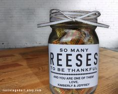 "Reese's Thank You Tags or Labels. Printable & Editable PDF.  ""So Many Reeses To Be Thankful.""  DIY gift idea.  Use for Teacher Gifts, Party Favors, Wedding Showers, Baby Showers, Holidays & More.  Perfect and creative way to give candy Reese's Peanut Butter Cups or Reese's Pieces."