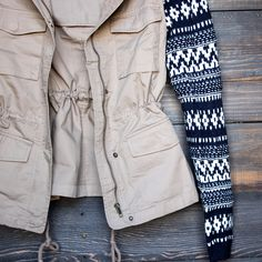 khaki cargo jacket with aztec pattern knit sleeves – shop hearts