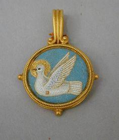 Holy spirit pendant, gold and micro-mosaic, Castellani, 19th c