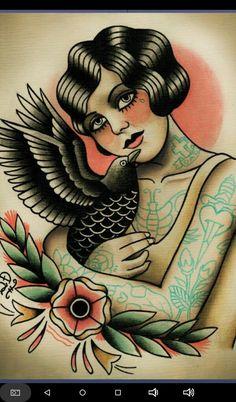 Flapper and Crow Tattoo Art Print - Tattoos Pictures Trendy Tattoos, New Tattoos, Phoenix Tattoos, Flapper Tattoo, Desenhos Old School, Tatuagem Old Scholl, Rabe Tattoo, Dessin Old School, Tattoo Old School
