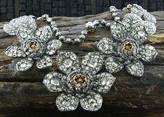 Lorraine Schwartz Important Antique Diamond Flower Necklace 18K and Silver