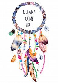 Ethnic Illustration With Native American Indian Watercolor Dreamcatcher. Stock Illustration - Illustration of elements, bird: 65925217 Dreamcatcher Wallpaper, Watercolor Dreamcatcher, Dreamcatcher Feathers, Dream Catcher Drawing, Dream Catcher Painting, Dream Catcher Watercolor, Dream Catcher Tumblr, Dream Catcher Vector, Wind Chimes