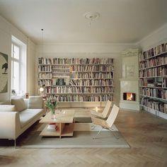 feature wall - mounted bookshelves