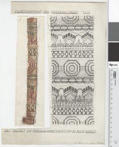 Oseberg Findings from folder 'Oseberg, textiles - silk': Silk Fabric 1, fragment 1. The character of Sofie Krafft: a / ink drawing ('trying construction') and b / watercolor ('character') and cut out. Measure A / B: 22 cm, H: 30 cm, b / B: 6 cm, H: 23 cm.
