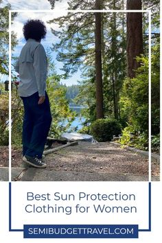 Whether you're traveling or staying at home, the sun's rays are ever-present. Even being in the car on a road trip provides hours of sun exposure for your skin. One way to help protect skin from the sun is to wear sun protective clothing and accessories, and I'm showing you the best sun protection clothing for women! Best travel outfits for women. Travel pants women. Travel wear for women. Travel jacket women. Sun protection clothing woman. #sunprotection #upf #upfclothing #coolibar #sunsafe