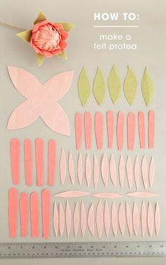 How To Make Felt Protea Flowers! All the petals you'll need to make the most gorgeous felt protea flowers!All the petals you'll need to make the most gorgeous felt protea flowers! Felt Diy, Felt Crafts, Fabric Crafts, Diy And Crafts, Paper Crafts, Decor Crafts, Sewing Crafts, Handmade Flowers, Diy Flowers
