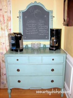 Coffee Bar - she converted this old dresser into a fabulous coffee bar - and I love what she used to turn the mirror into a chalkboard!