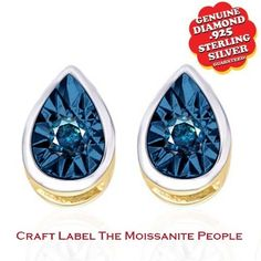 """Big Look 100% Blue Genuine Genuine Diamond 14K Two Tone Solitaire Stud Earrings """"Mother\'s Day Gift"""". Starting at $32"""