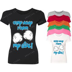 Stay Away From My Girl Women T-Shirt Couple Matching Shirts... ($5.99) ❤ liked on Polyvore featuring tops, t-shirts, black, women's clothing, valentines day shirts, black t shirt, black tee, black top and print tees