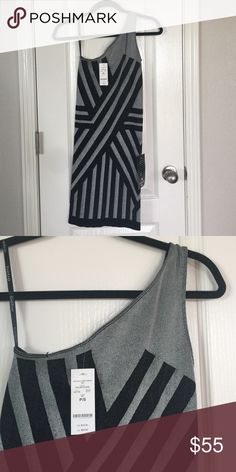 Black and silver bebe one shoulder dress Fitted one shoulder dress. Great for a girls night out. Never been worn, tags still attached. Size small. bebe Dresses Mini