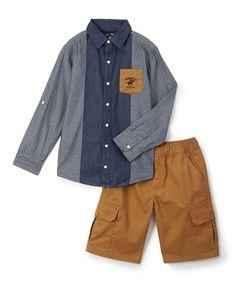 Look what I found on #zulily! Dark Chambray Button-Up & Shorts - Toddler & Boys #zulilyfinds