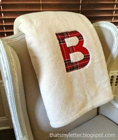 "That's My Letter: ""W"" is for Workshop, fleece blanket with plaid monogram"