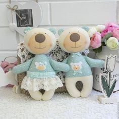 Купить Мятные мишки. - мятный, белый, свадебная пара, свадьба, новорожденным, подарок, новорожденному,…