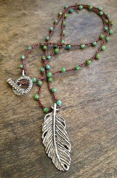 """Feather Pendant, turquoise beads in a knotted crochet necklace """"Boho Chic"""" Bohemian Jewelry Feather Jewelry, Bohemian Jewelry, Diy Jewelry, Beaded Jewelry, Jewelry Accessories, Jewelry Necklaces, Handmade Jewelry, Fashion Jewelry, Women Jewelry"""