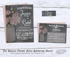 Chalkboard Wedding Invitation Set - Country Mason Jar Barn Wedding Invitation - Printable Rustic Wedding Invites w/ Blush Peonies - DIY by X3designs on Etsy https://www.etsy.com/listing/229542790/chalkboard-wedding-invitation-set