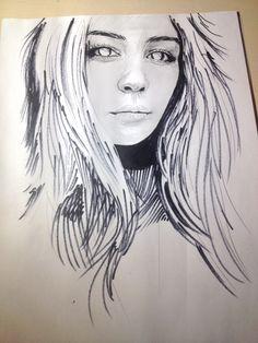 Girl art paper marker